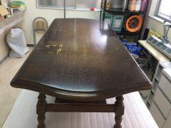 福岡市で痛んで塗膜が剥がれていたセンターテーブルを再塗装
