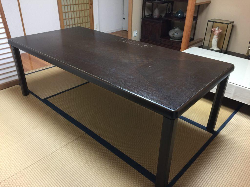 福岡市中央区で20年使用のダイニングテーブルを再生塗装