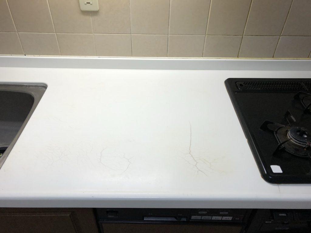 キッチン人工大理石天板のひび割れ補修【福岡市早良区】