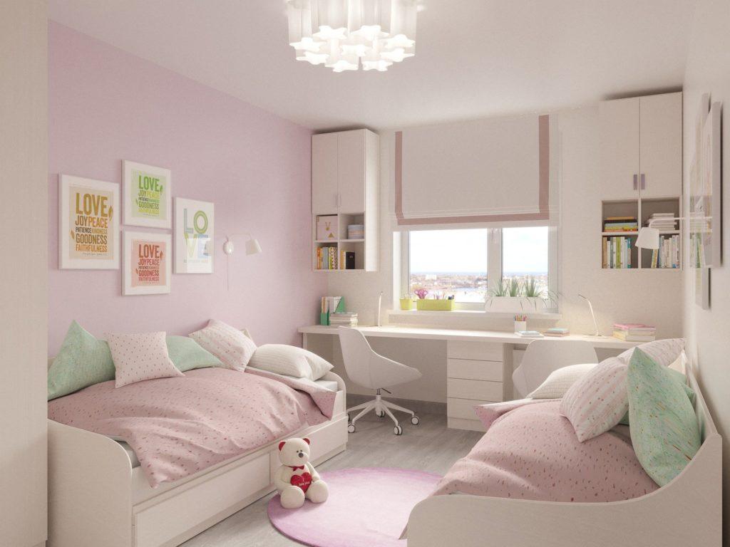 壁紙がピンクな部屋