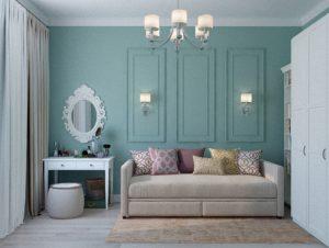 壁紙がターコイズブルーの部屋