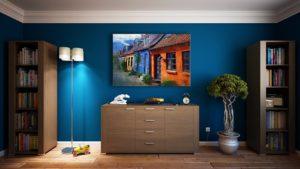 壁紙が青い部屋